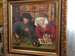 "A Belgian painter, Quentin Massys (1465/66 to 1530) elaborately painted a picture, titled ""The Moneychanger and his wife"" in 1514."